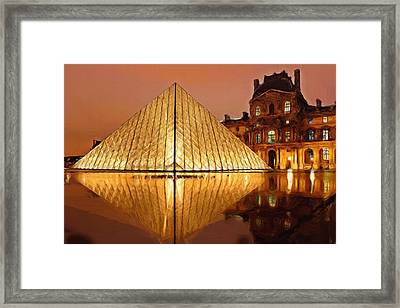 The Louvre By Night Framed Print by Ayse Deniz