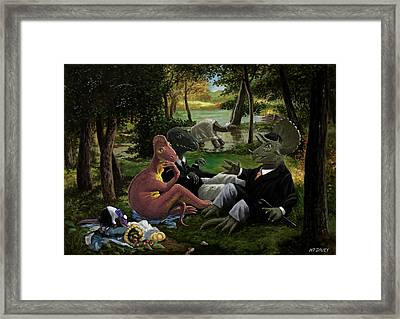 The Luncheon On The Grass With Dinosaurs Framed Print by Martin Davey