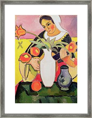 The Lute Player Framed Print by August Macke