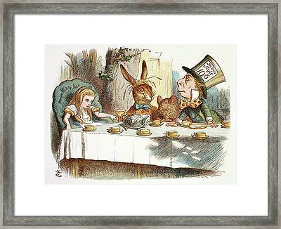 The Mad Hatter's Tea Party Framed Print by British Library