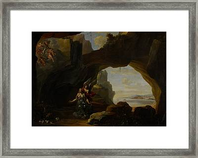 The Magdalen In A Cave Framed Print by Johannes Lingelbach