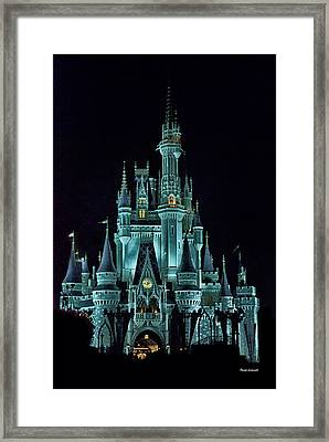 The Magic Kingdom Castle In Teal Walt Disney World Fl Framed Print by Thomas Woolworth