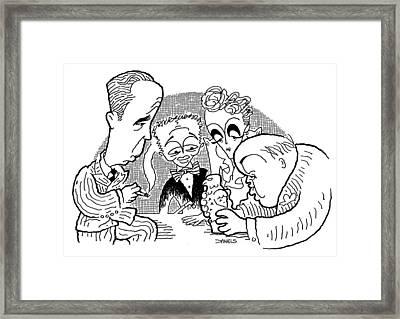 The Maltese Falcon Cartoon Framed Print by Stephen Daniels