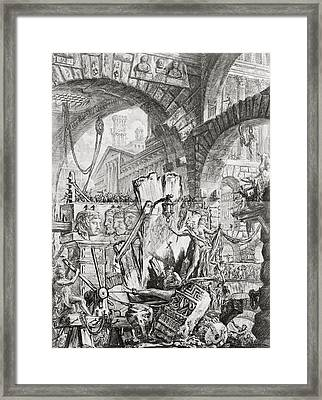 The Man On The Rack Plate II From Carceri D'invenzione Framed Print by Giovanni Battista Piranesi
