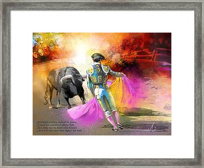 The Man Who Fights The Bull Framed Print by Miki De Goodaboom