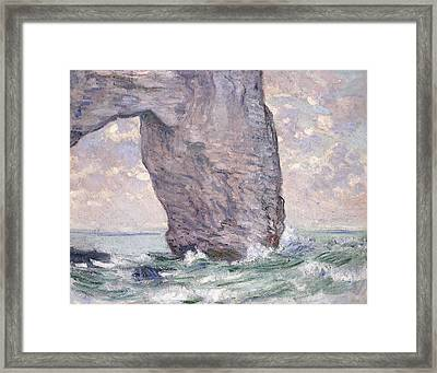 The Manneporte Seen From Below Framed Print by Claude Monet
