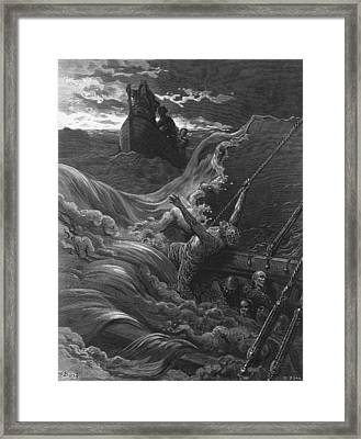 The Mariner As His Ship Is Sinking Sees The Boat With The Hermit And Pilot Framed Print by Gustave Dore