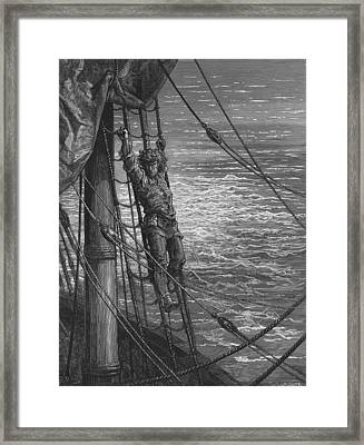 The Mariner Describes To His Listener The Wedding Guest His Feelings Of Loneliness And Desolation  Framed Print by Gustave Dore