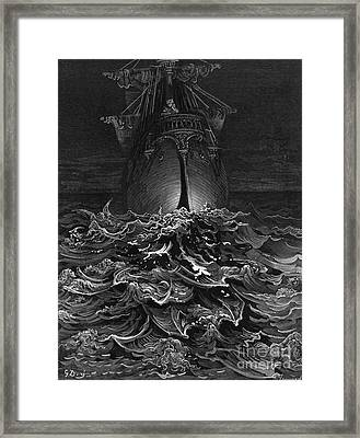 The Mariner Gazes On The Ocean And Laments His Survival While All His Fellow Sailors Have Died Framed Print by Gustave Dore