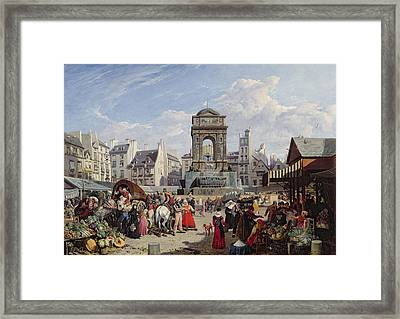 The Market And Fountain Of The Innocents, Paris, 1823 Oil On Canvas Framed Print by John James Chalon