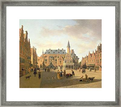 The Market Place With The Raadhuis, Haarlem, 17th Century Framed Print by Gerrit Adriaensz Berckheyde