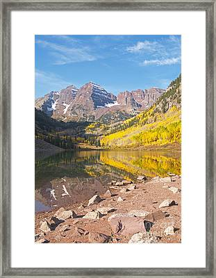 The Maroon Bells Near Aspen Colorado Framed Print by Alex Cassels