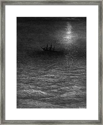 The Marooned Ship In A Moonlit Sea Framed Print by Gustave Dore