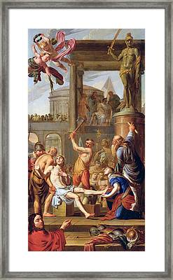 The Martyrdom Of Saint Adrian Framed Print by Adrien Sacquespee