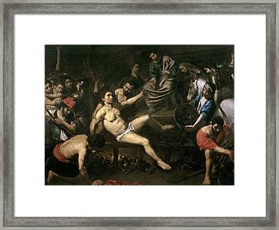 The Martyrdom Of St. Lawrence Framed Print by Valentin de Boulogne