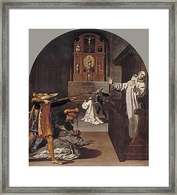 The Martyrdom Of The Carthusians Of Bourg Fontaine Framed Print by Vincenzo Carducci