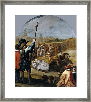 The Martyrdom Of Three Carthusian Monks In London Framed Print by Vincenzo Carducci