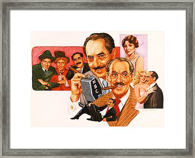 The Marx Brothers Framed Print by Dick Bobnick