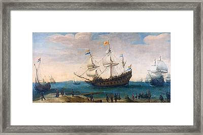 The Mauritius And Other East Indiamen Framed Print by Hendrik Cornelisz Vroom