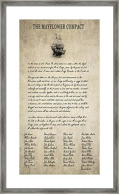 The Mayflower Compact Aged  1620 Framed Print by Daniel Hagerman