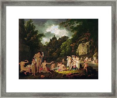 The Mermaids Haunt, 1804 Oil On Panel Framed Print by Julius Caesar Ibbetson