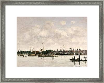 The Meuse At Dordrecht Framed Print by Eugene Louis Boudin