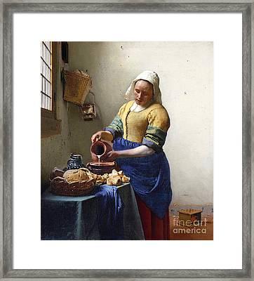 The Milkmaid Framed Print by Jan Vermeer