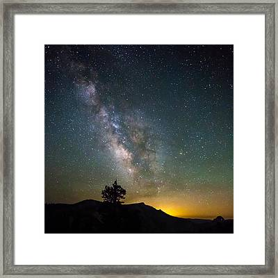 The Milky Way Meets The Aspen Fire Framed Print by Mike Lee