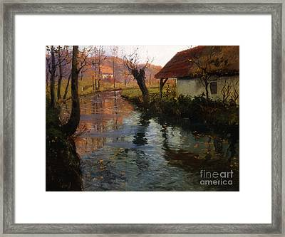 The Mill Stream Framed Print by Fritz Thaulow
