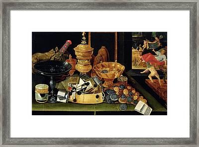 The Misers Treasure Oil On Panel Framed Print by Flemish School