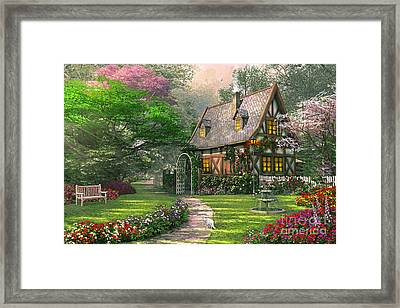 The Misty Lane Cottage Framed Print by Dominic Davison