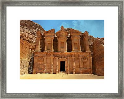The Monastery At Petra Framed Print by Stephen Stookey