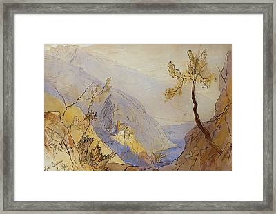 The Monastery Of St Dionysius Mount Athos Framed Print by Edward Lear