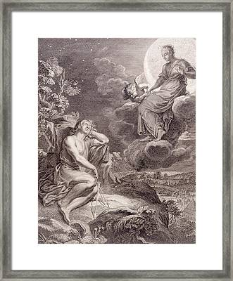 The Moon And Endymion Framed Print by Bernard Picart