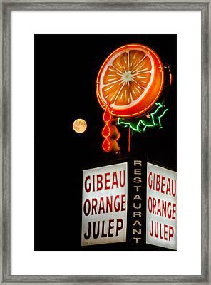 The Moon Loves Orange Julep  Framed Print by Martin New