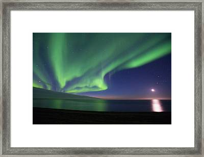 The Moon Shines Down On The Arctic Framed Print by Hugh Rose