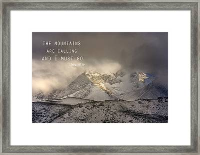The Mountains Are Calling And I Must Go  John Muir Vintage Framed Print by Guido Montanes Castillo