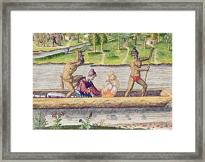 The Murder Of A Frenchman Framed Print by Jacques Le Moyne