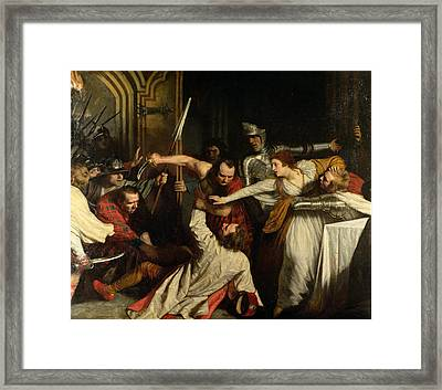 The Murder Of Rizzio, 1787 Oil On Canvas Framed Print by John Opie