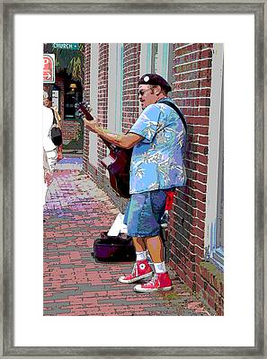 The Music Man And His Red Shoes Framed Print by Suzanne Gaff