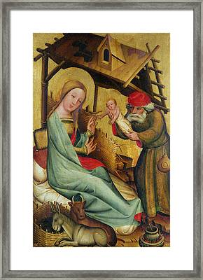 The Nativity From The High Altar Of St. Peters In Hamburg, The Grabower Altar, 1383 Tempera On Panel Framed Print by Master Bertram of Minden