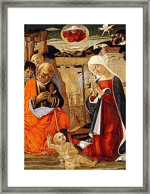The Nativity With The Annunciation To The Shepherds In The Distance Framed Print by Benvenuto di Giovanni