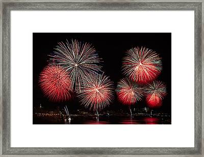 The New York City Skyline All Lit Up Framed Print by Susan Candelario