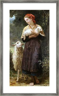 The Newborn Lamb Framed Print by William Bouguereau