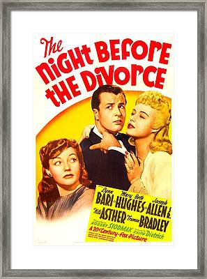 The Night Before The Divorce, Us Framed Print by Everett