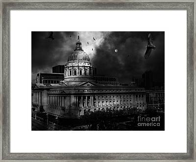 The Night The Vultures Returned To San Francisco City Hall 5d22510 Black And White Framed Print by Wingsdomain Art and Photography