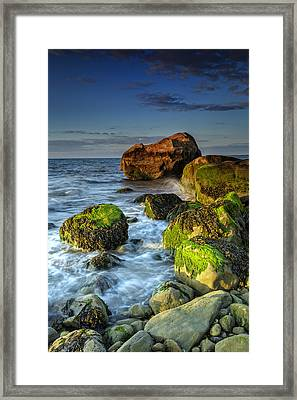 The North Fork's Rocky Shore Framed Print by Rick Berk