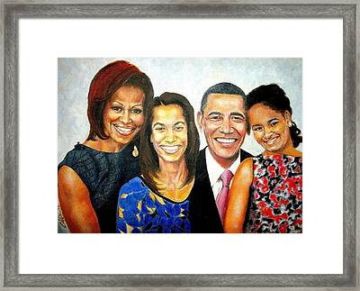 The Obama Family Framed Print by G Cuffia