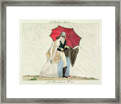 The Obliging Umbrella Framed Print by French School