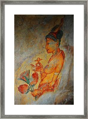 The Ode For The Women Beauty. Sigiriyan Lady With Flowers. Sigiriya. Sri Lanka Framed Print by Jenny Rainbow